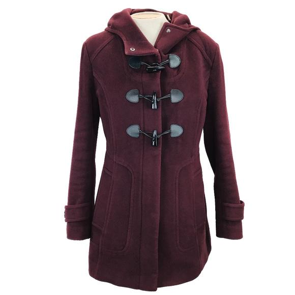 Cole Haan Jackets & Blazers - Cole Haan Dark Maroon Toggle Wool Pea Coat 12